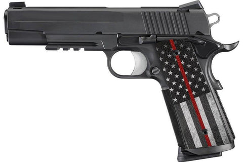 Thin Red American Flag 1911 Grips - Rough Textured Ergo Grips XT