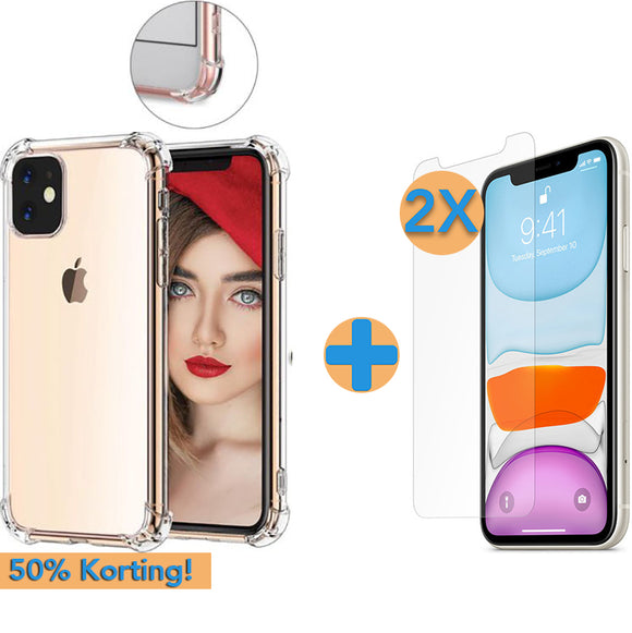 Screenprotector (2x) + Anti-Shock Hoesje iPhone