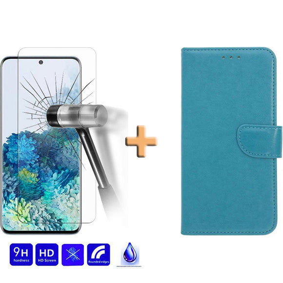 Screenprotector + Wallet Case Blauw Samsung