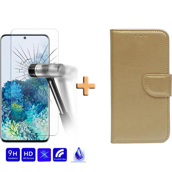 Screenprotector + Wallet Case Goud Samsung