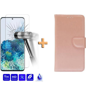 Screenprotector + Wallet Case Rose Goud Samsung