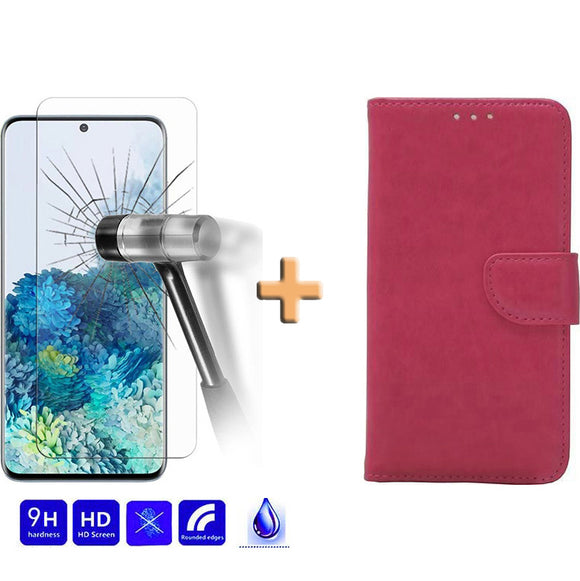 Screenprotector + Wallet Case Roze Samsung