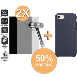 Screenprotector (2x) + Hoogwaardige Silicone Case iPhone