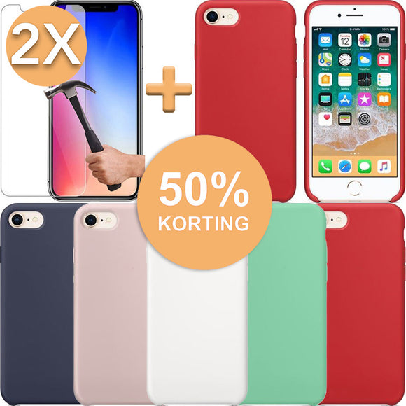 Screenprotector (2x) + Hoesje iPhone 7 / 8 (Plus) Hoogwaardige Siliconenen Case