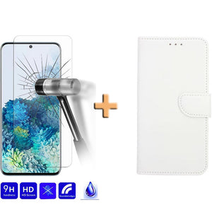Screenprotector + Wallet Case Wit Samsung
