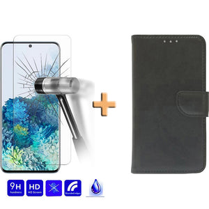 Screenprotector + Wallet Case Zwart Samsung