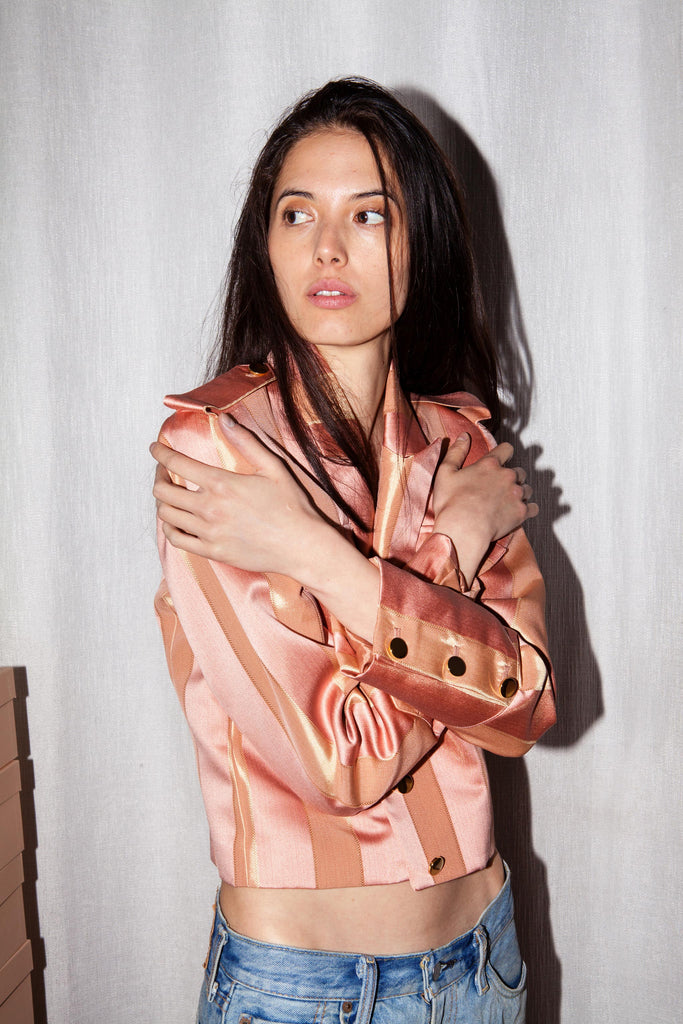 Vintage Upholstery Military Jacket (In Peach)
