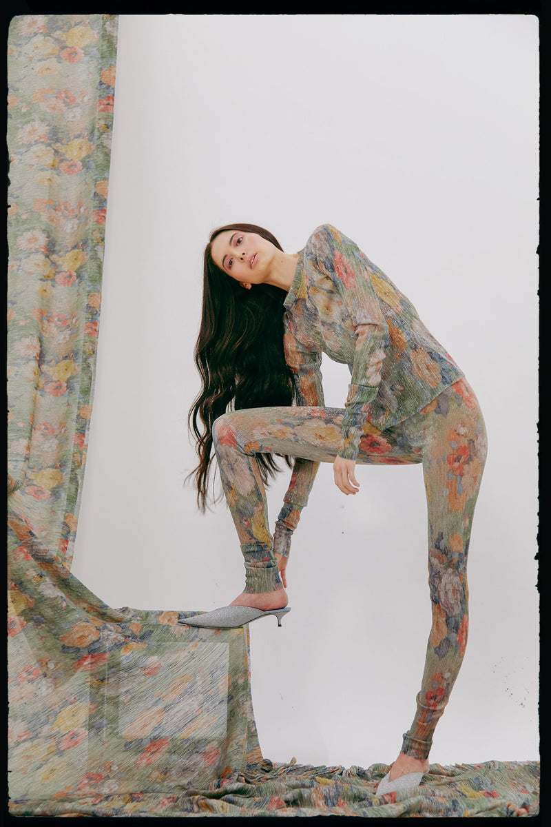 Metallic Plissé Legging