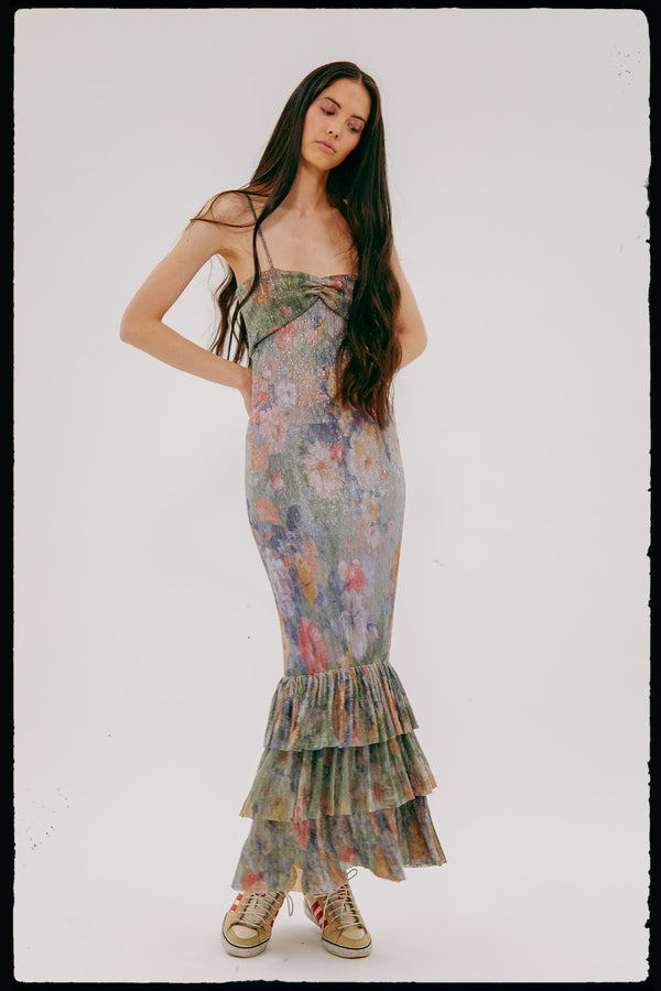 Metallic Plissé Mermaid dress