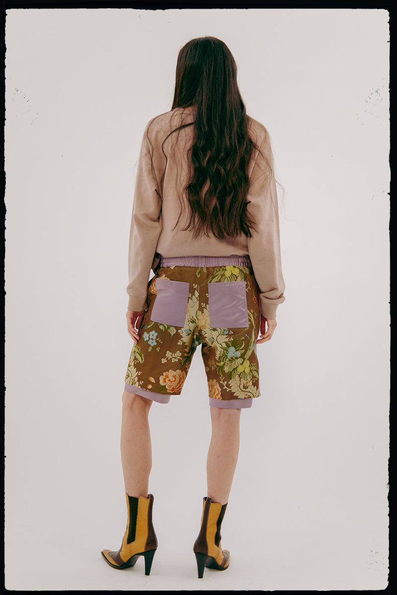 Unisex Vintage Brocade Basketball Short