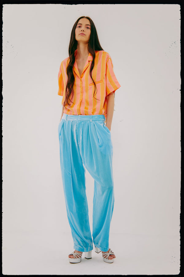 Unisex Pleated Billow Pant (In Sky Velvet)