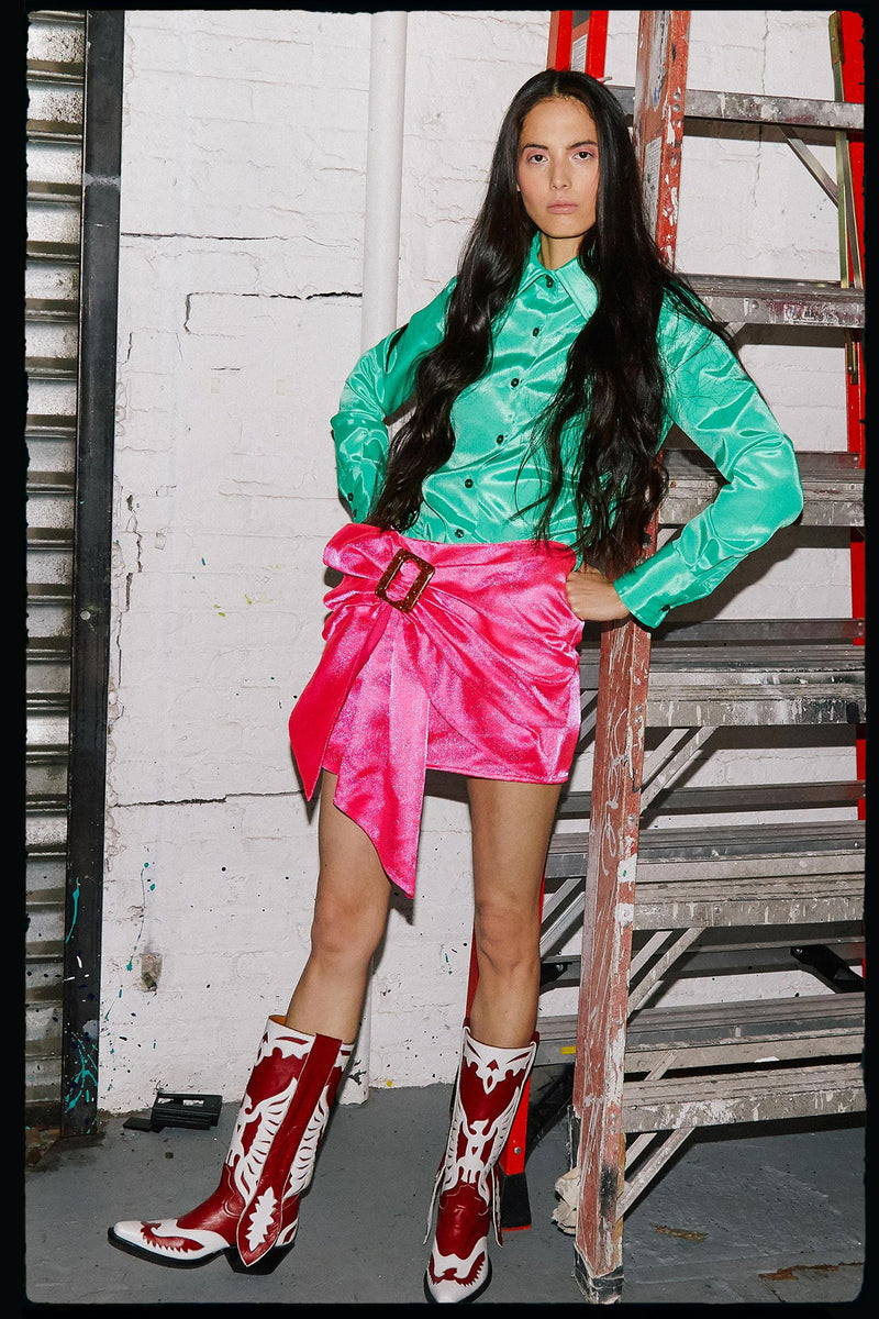 Buckled Waterfall Skirt (in hot pink)