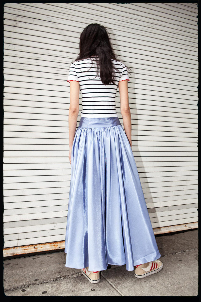 Longline Front Button Skirt (In Iris)