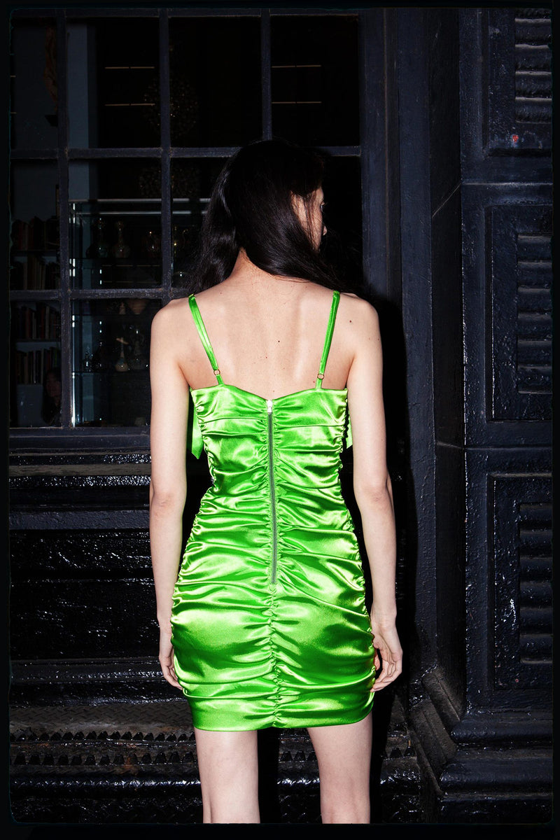 Bowdacious Mini Dress (In Lime)