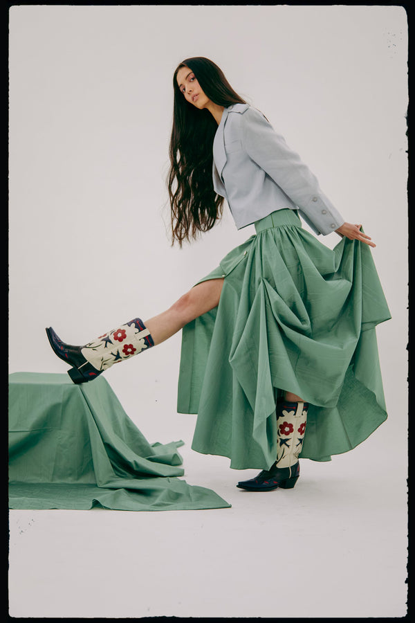 Longline Front Button Skirt (In Sage Moire)
