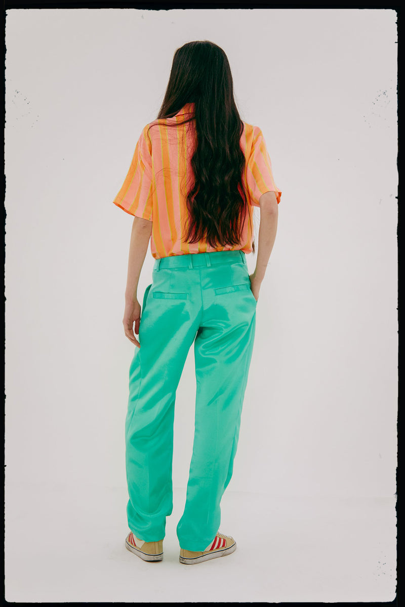 Unisex Pleated Billow Pant (In Caribbean Green)