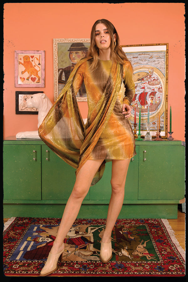 Golden Skunk Plume Dress (PREORDER)