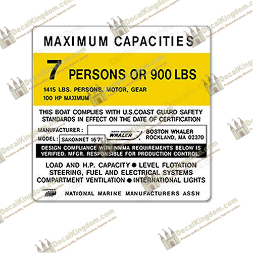 Tracker Marine Capacity Plate Decals Boat Maximum Occupancy Multiple Variations