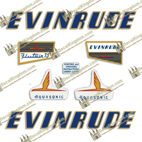 Evinrude 1956 5.5hp Outboard Decal Kit 3M Marine Grade