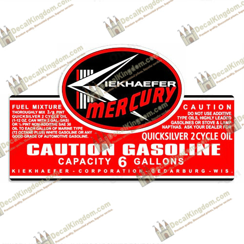 Mercury 1964 Gas Tank Decal Fuel kiekhaefer Stickers Different Sizes Available