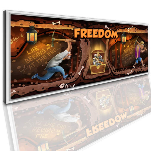 "Wandbild ""FREEDOM"" – ""Life begins at the end of your comfort zone!"" inkl. weißen Schattenfugen-Rahmen"