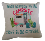 WHAT HAPPENS AT THE CAMPSITE PILLOW