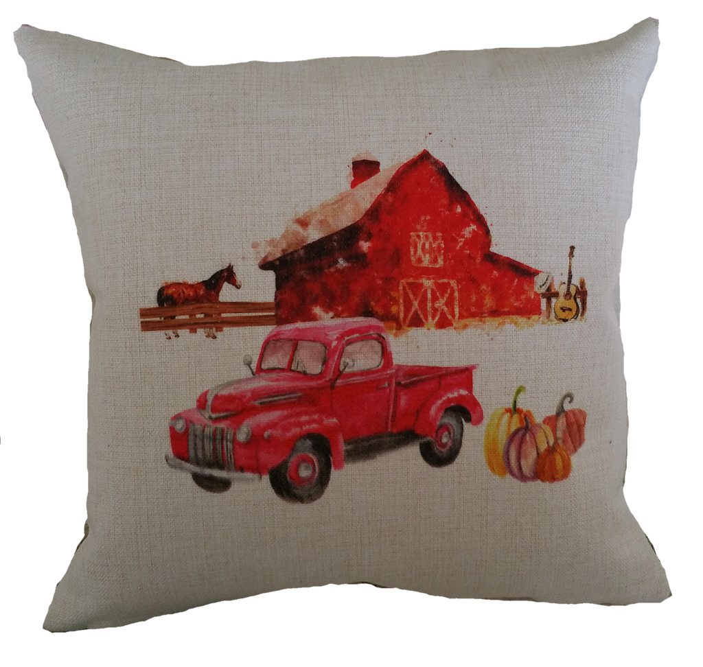 Pillow - Fall Farm with Horse and Truck