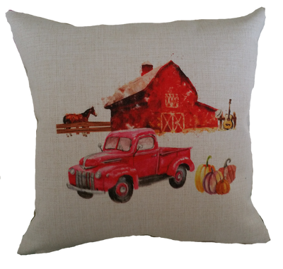 FALL FARM WITH HORSE TRUCK PILLOW