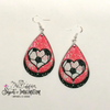 Earrings - Heart Soccer Ball on Pink and Black Glitter