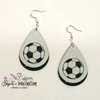 Earrings - Heart Soccer Ball on White and Black Glitter