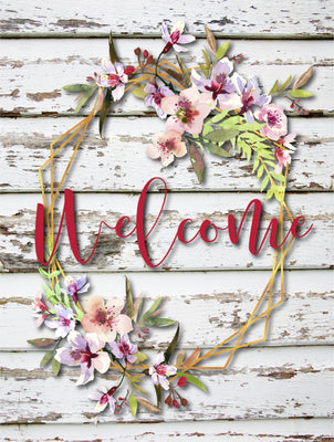 Flag - Welcome Flower Wreath