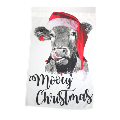 Flag - Mooey Christmas Cow Heifer Santa Hat