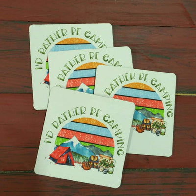 Coasters - I'd Rather Be Camping - Tent scene