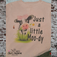 Shirt - Short Sleeve T-Shirt - Just a Little Moody with Cow - Child, Infant