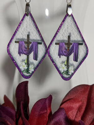 Earrings - Diamond Shape Easter Cross and Cloak