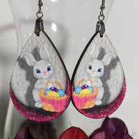 Earrings - White Bunny, Basket with Eggs