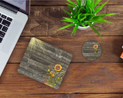 Desk/Table Set - Includes Mousepad and Coaster - Rustic Sunflower
