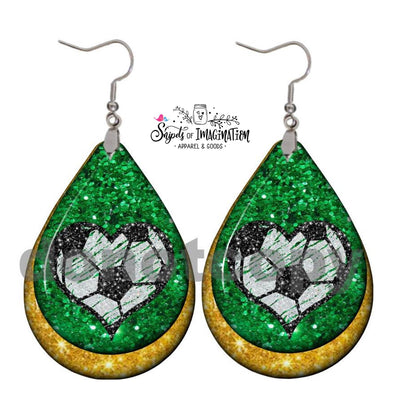 Earrings - Heart Soccer Ball on Green Black Glitter