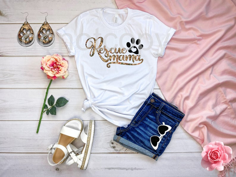 Shirt - Short Sleeve - T-Shirt - Rescue Mama with Paw