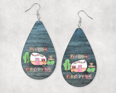 Earrings - Happy Campers and Camper on Teal