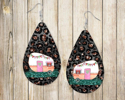Earrings - Camper on Leopard and Black Background