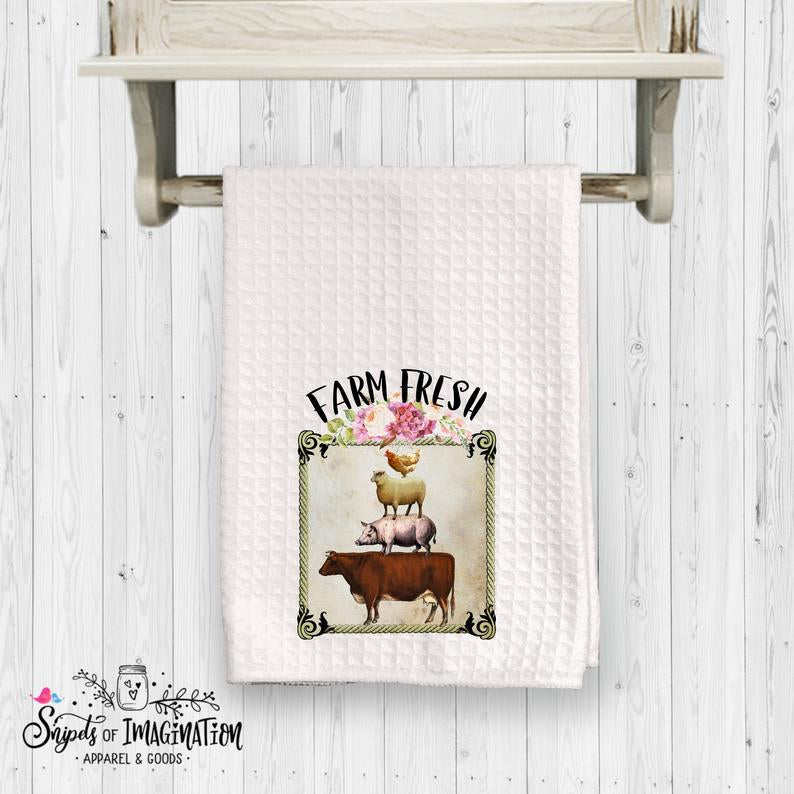 Handtowel - Farm Fresh with Pig, Cow, Sheep, Chicken