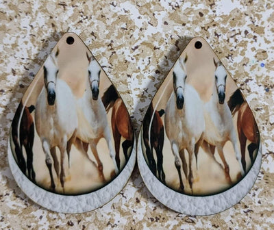 Earrings - Horses Running on Faux Leather Background