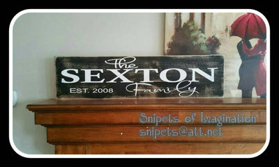 Wood Sign - Family Estabilshed with Year - Personalized