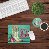 Desk/Table Set - Includes Mousepad and Coaster - Cowgirl Boots - Personalized