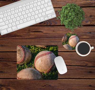 Desk/Table Set - Includes Mousepad and Coaster - Baseball Grass
