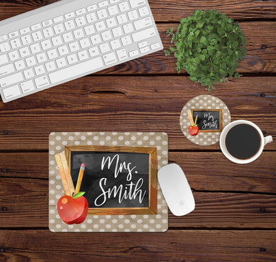 Desk/Table Set - Includes Mousepad and Coaster - Teacher Chalkboard - Personalized