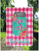 Flag - Welcome Mason Jar Gingham Plaid - Personalized