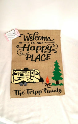 Flag - Welcome To Our Happy Place Personalized