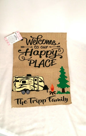WELCOME TO OUR HAPPY PLACE CAMPING FLAG